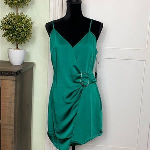 NWT, Forever 21 Emerald Green Satin Dress, M